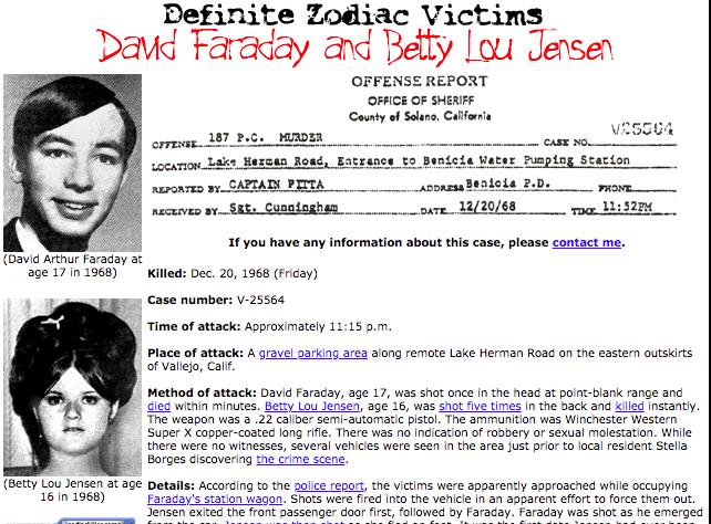 Dos víctimas confirmadas del asesino del Zodiaco.(Tom Voigt/zodiackiller.com)