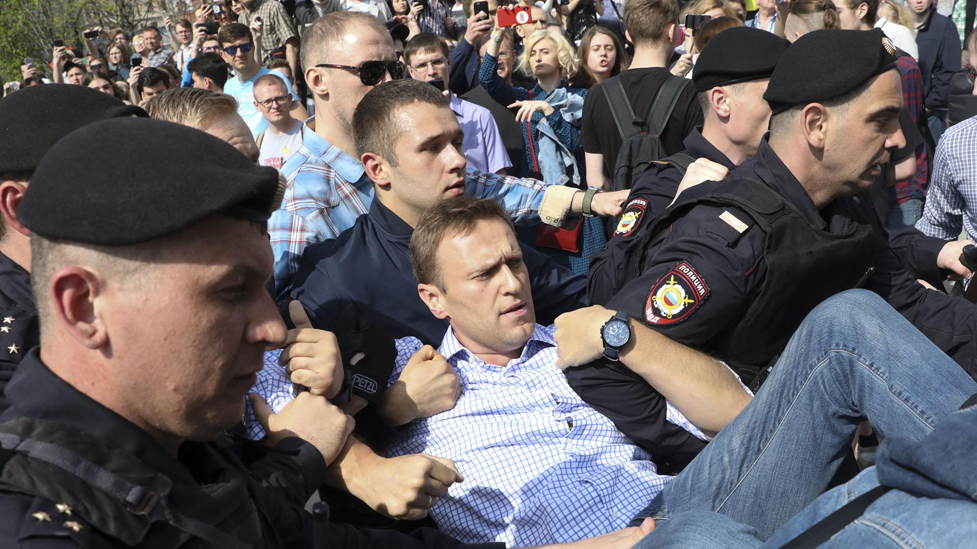 El arresto de Alexéi Navalni (AP)