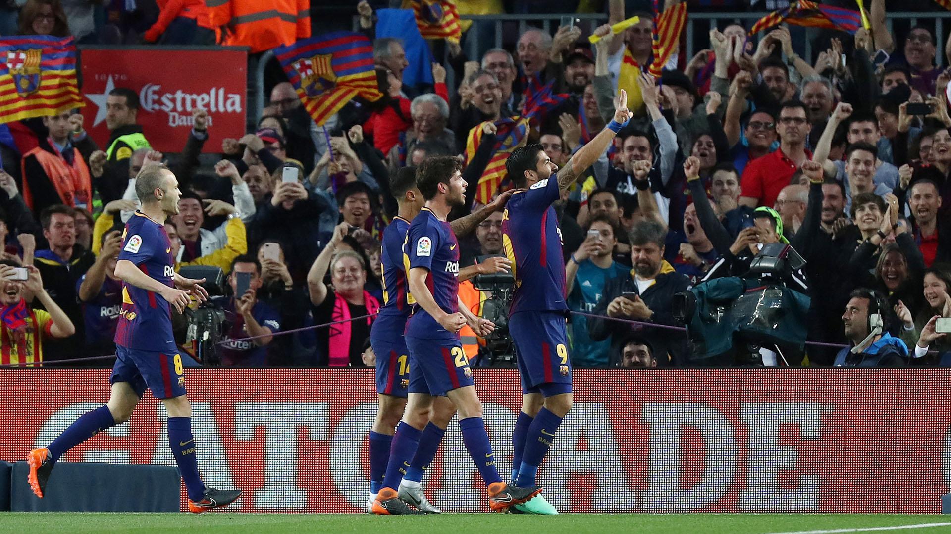 El festejo de Suárez (Foto: REUTERS)