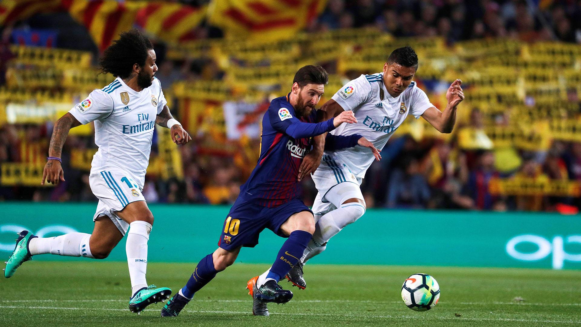 Lionel Messi convirtió un gol en el empate 2-2 entre Barcelona y Real Madrid (EFE)