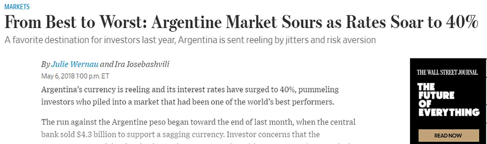 """La nota del Wall Street Journal es concluyente para el mercado argentino: """"De mal en peor"""""""