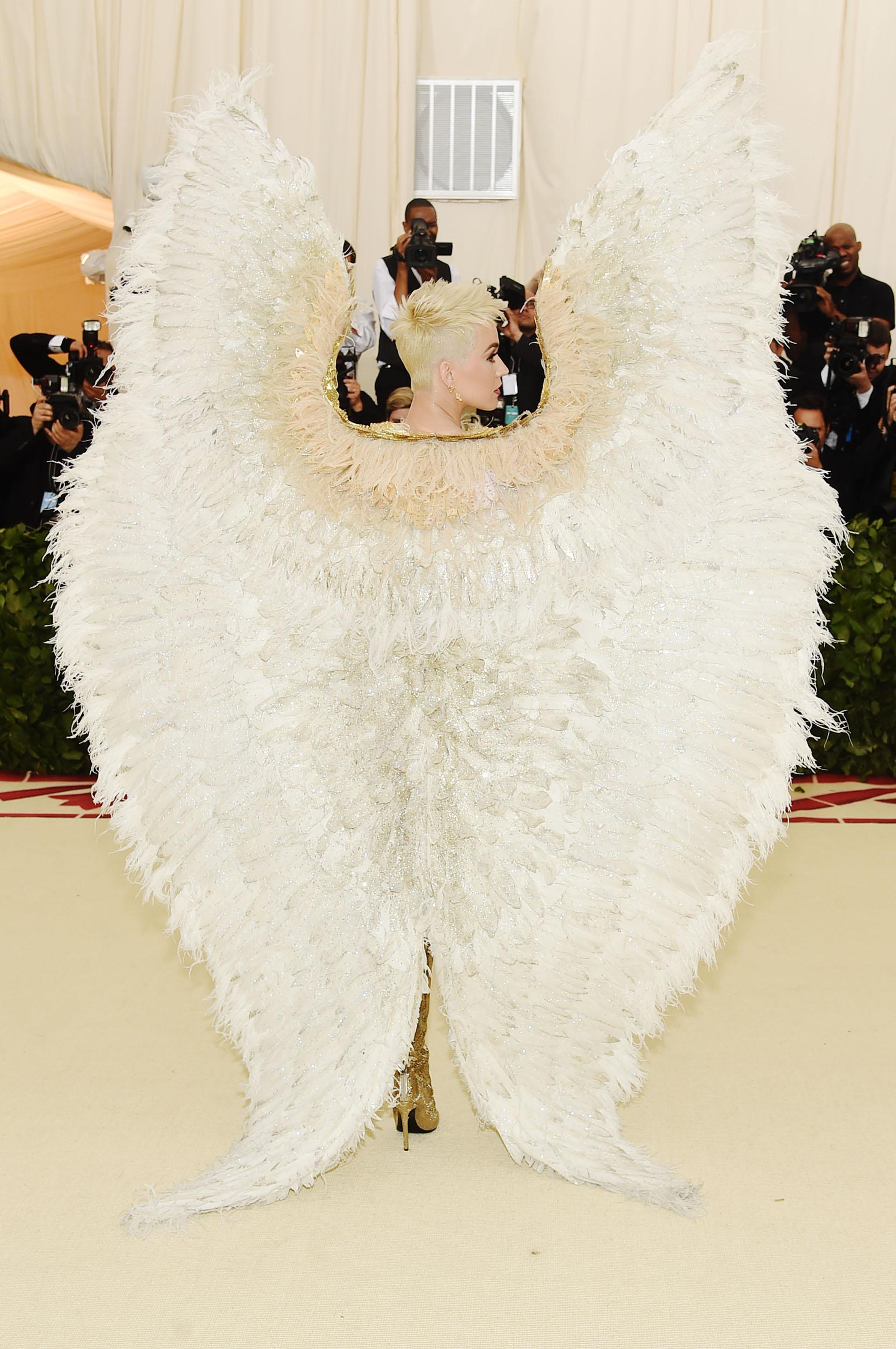 Alas con plumas coronaron el gran look que acaparó toda la atención de la red carpet