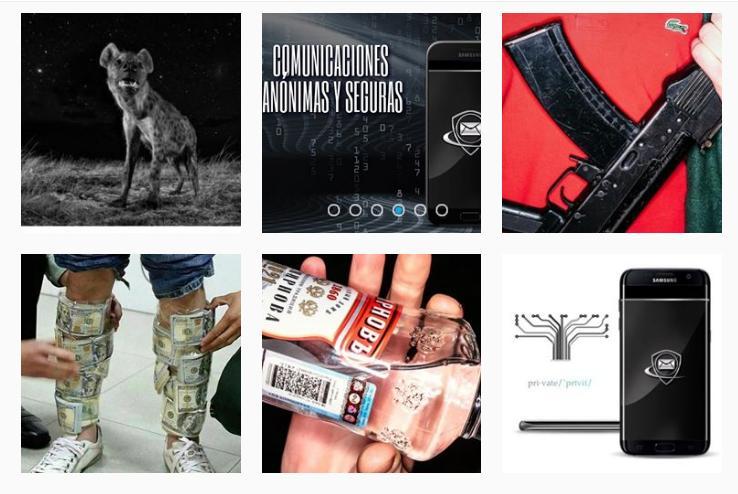 Leyenda: una selección de publicaciones en la cuenta de Instagram de Phantom PGP. Imagen: Instagram