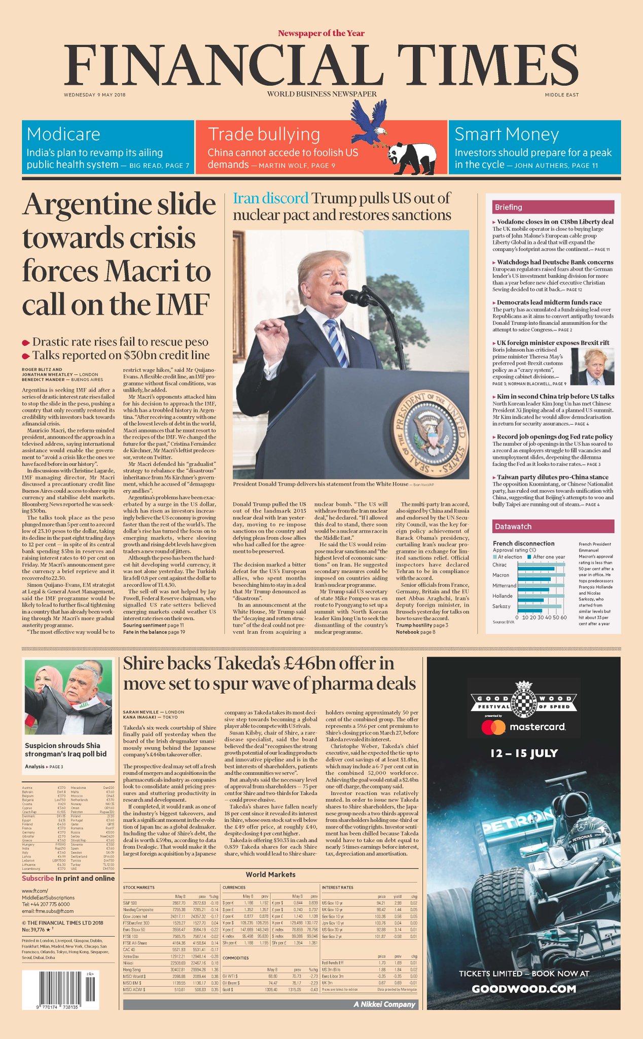La tapa del Financial Times de mañana