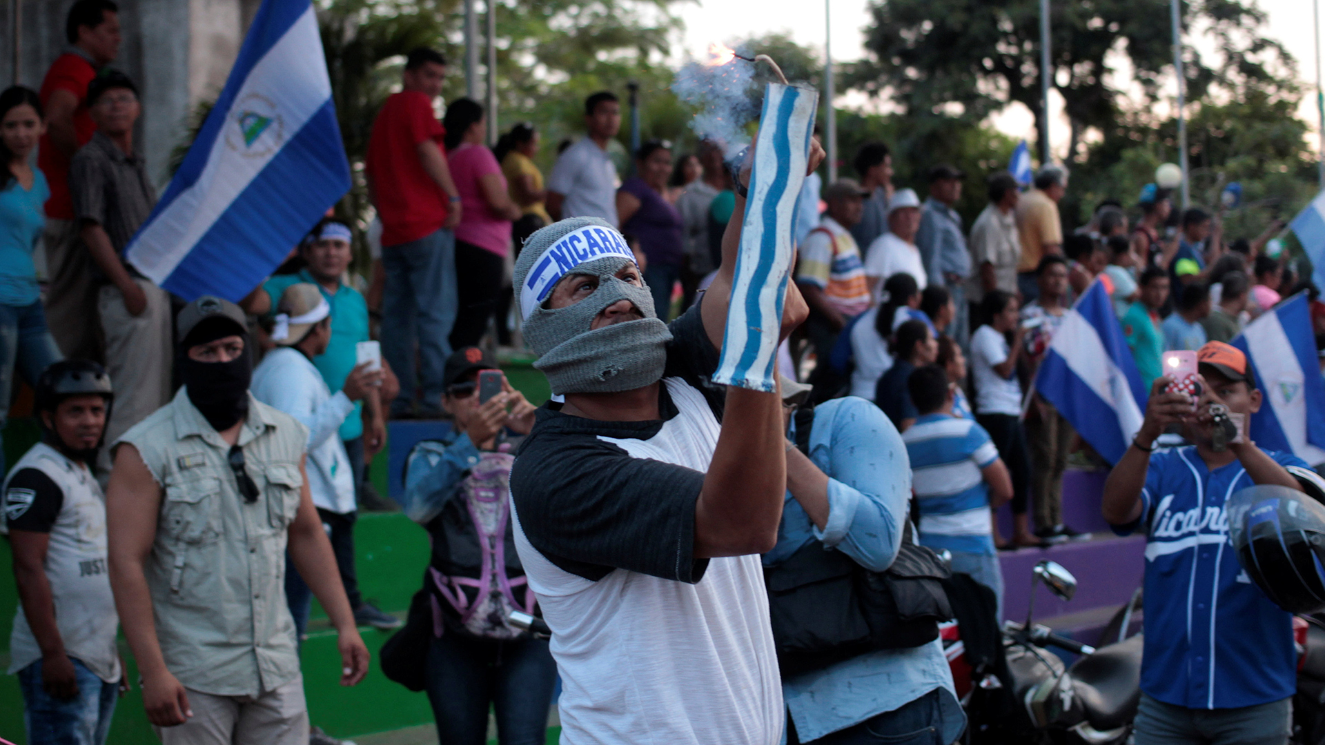 Protesta de campesinos en la marcha nacional en Nicaragua (Reuters)