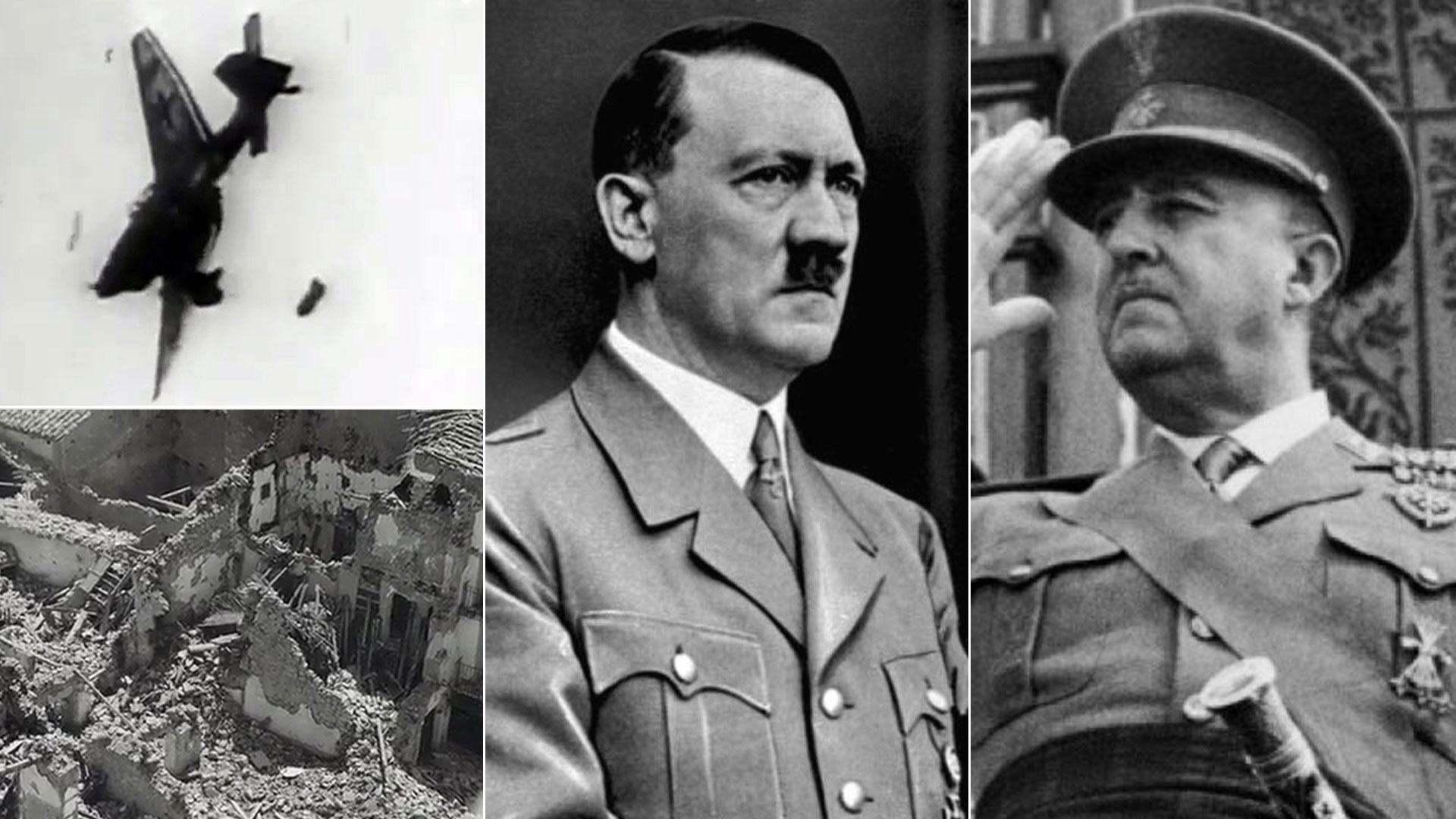 UN Stuka en picada contra una población civil, en los prolegómenos de la Segunda Guerra Mundial. Adolf Hitler y Francisco Franco