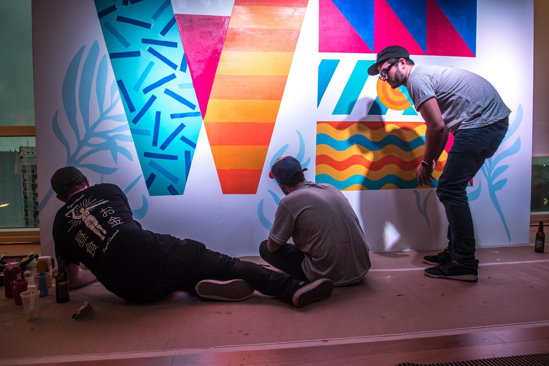 El arte también tuvo su espacio: Nacho Varone y Eric Friedensohn, del equipo de Art & Graphics de WeWork, hicieron una intervención en vivo