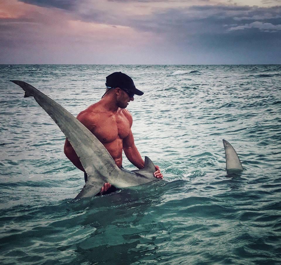 Elliot Sudal devolviendo a su hábitat al majestuoso tiburón martillo que pescó para colocarle un chip de rastreo (Elliot Sudal)