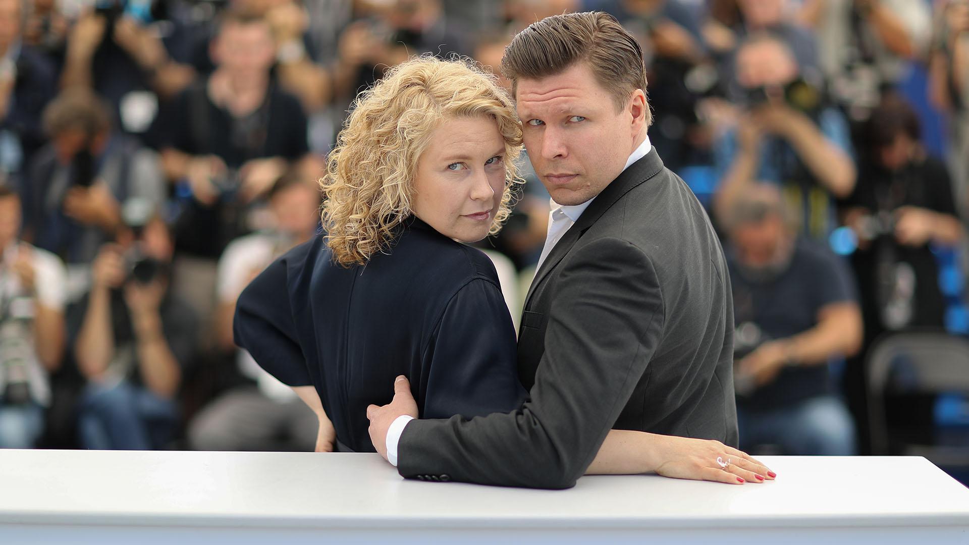 La acriz sueca Eva Melander y el actor finlandés Eero Milonoff (AFP)