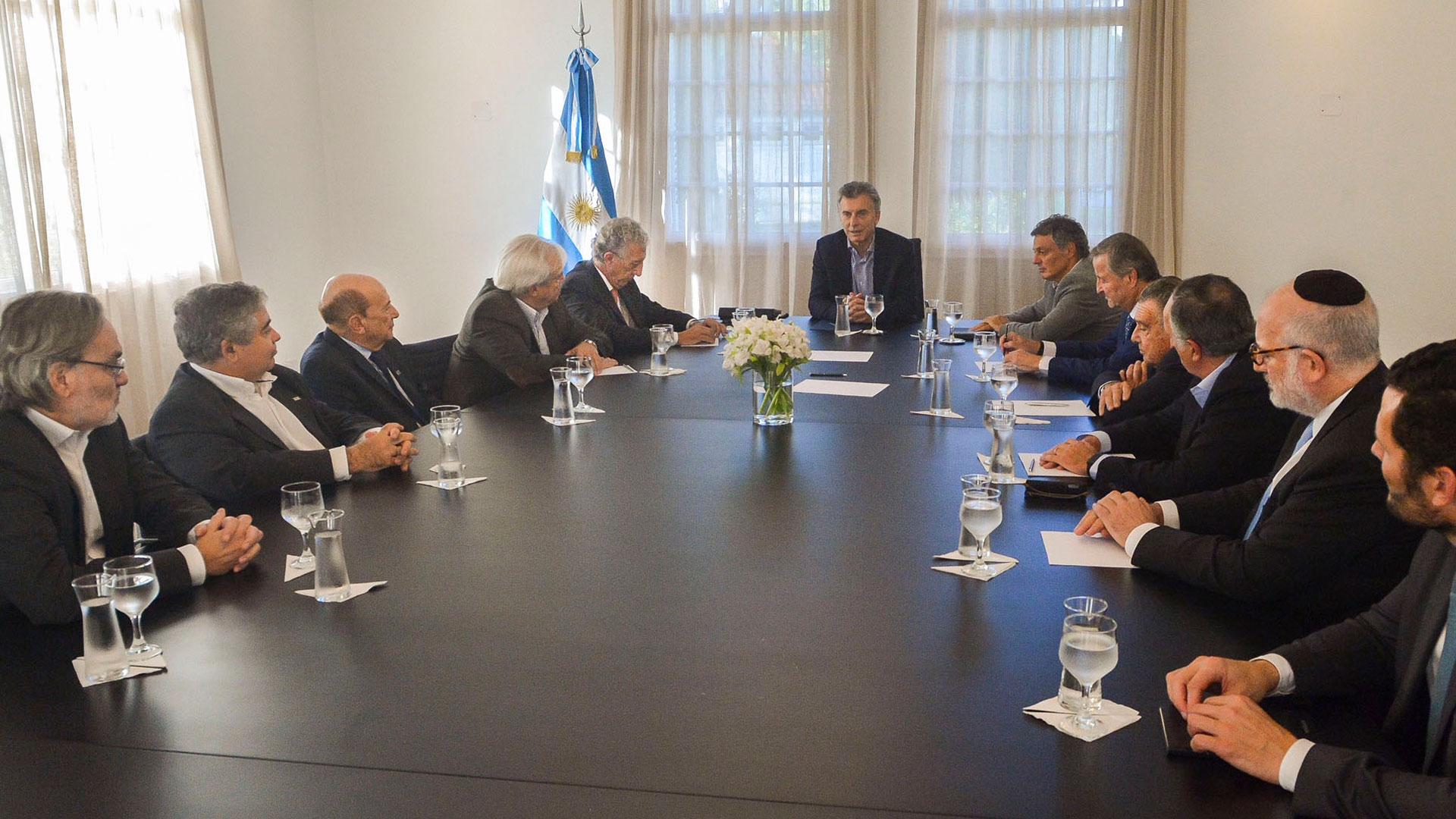Macri en la reunión de ayer con empresarios (Télam)
