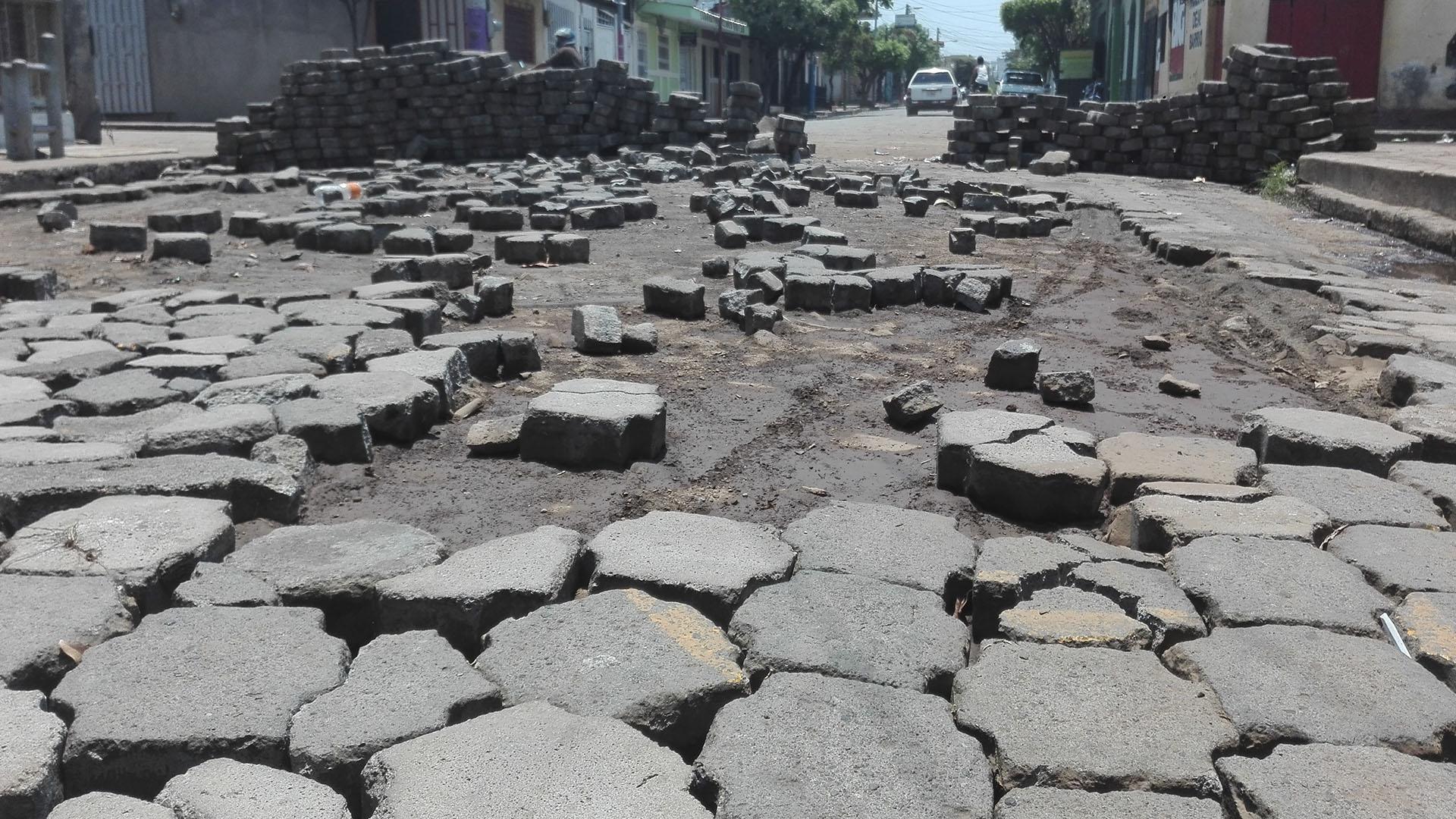 Una barricada improvisada en Masaya