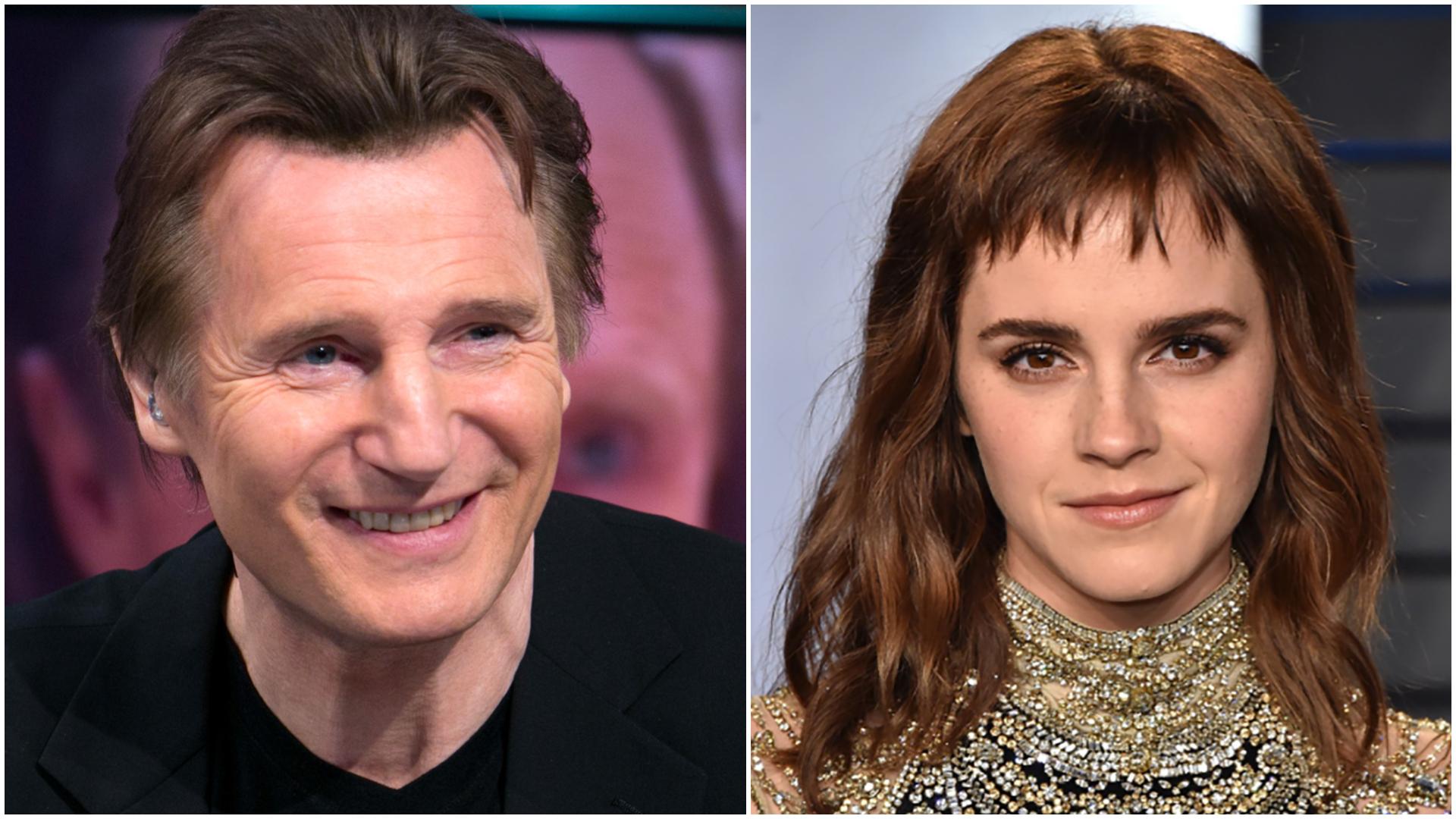 Los actores Liam Neeson y Emma Watson. Emma y Liam fueron los nombres más elegidos para los recién nacidos en Estados Unidos en 2017