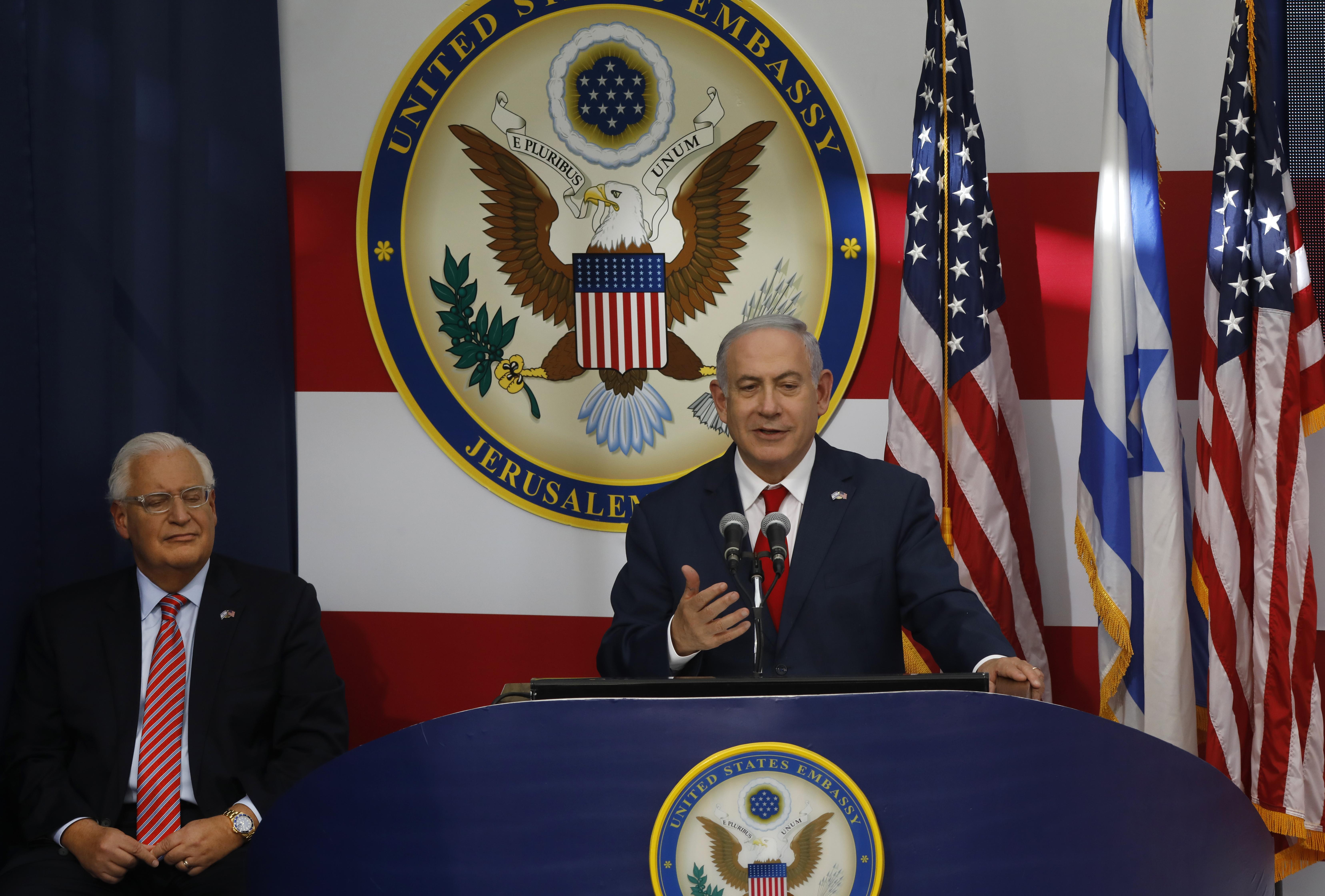 El primer ministro de Israel, Benjamin Netanyahu, durante la ceremonia (AFP)
