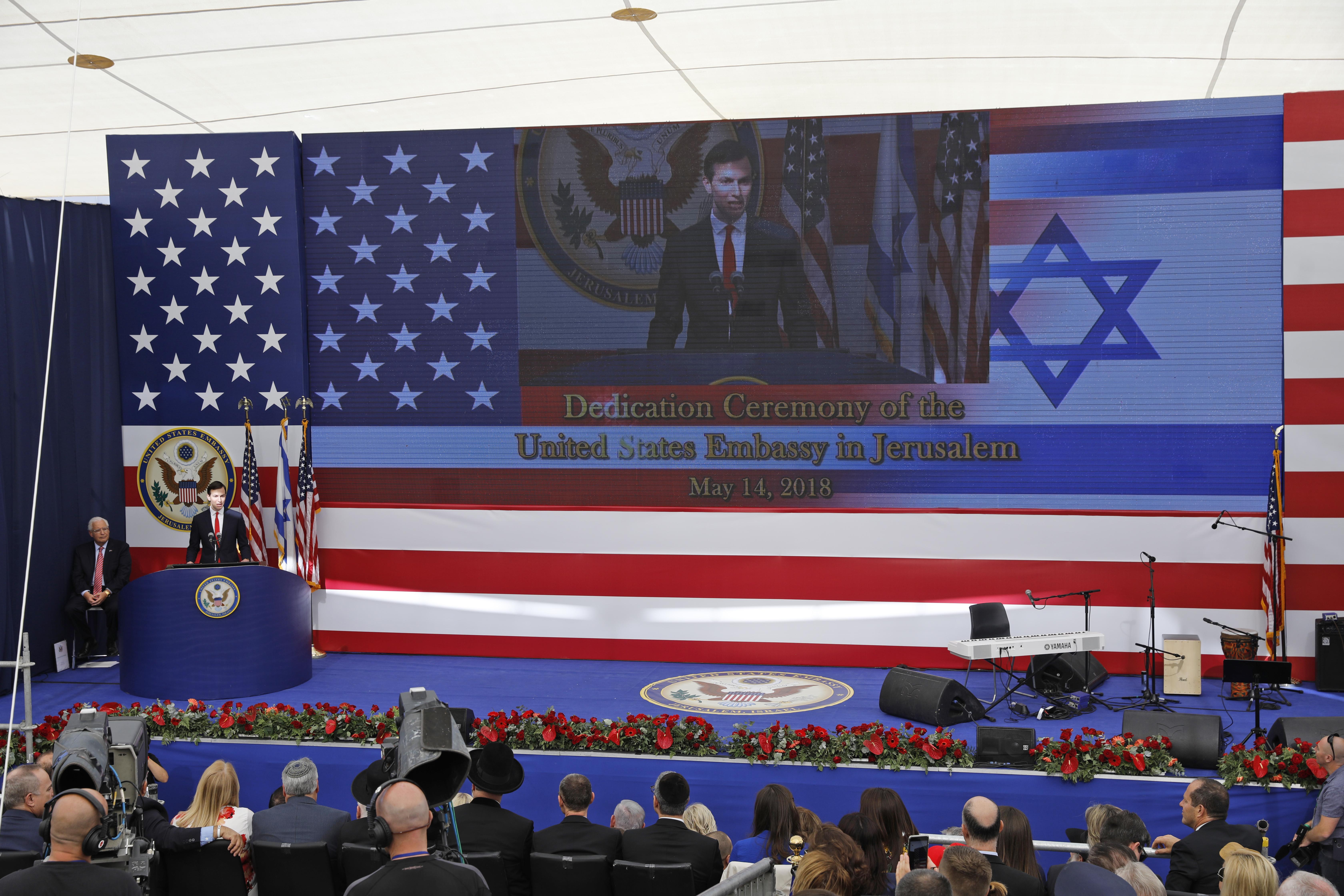 El yerno y asesor del presidente Donald trump, Jared Kushner, durante la ceremonia (AFP)