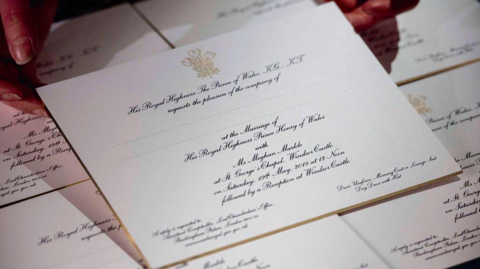Las invitaciones para la boda de Meghan Markle y el príncipe Harry