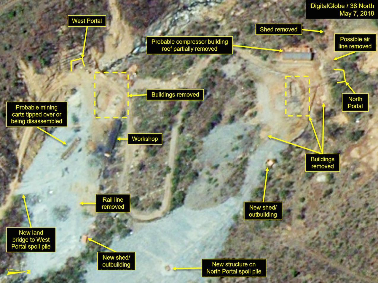 El sitio con las instalaciones destruidas