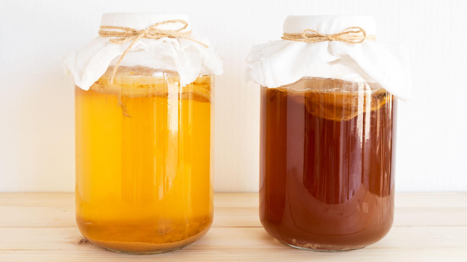 La kombucha es otra fuente de probióticos (Getty)