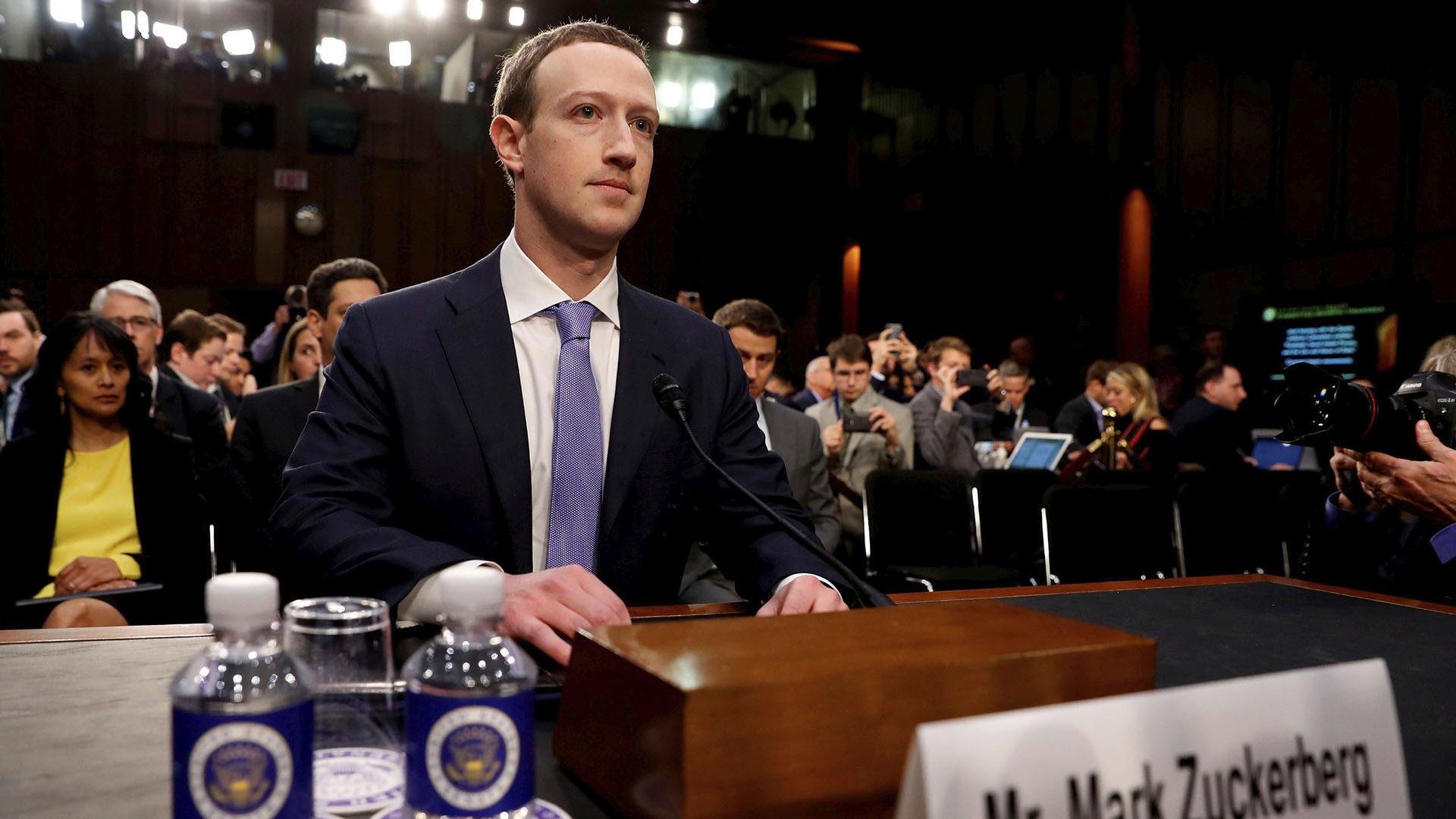 Mark Zuckerberg, interrogado en el Congreso de Estados Unidos en abril de 2018 (Reuters)