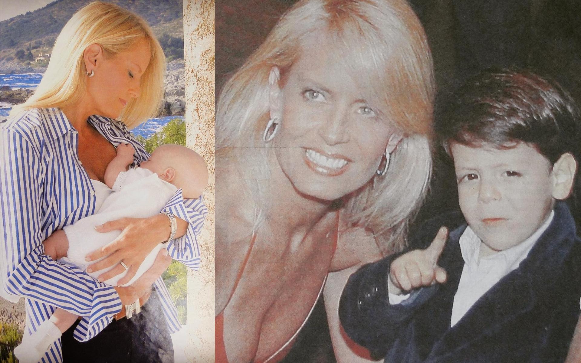 Cecilia Bolocco y Máximo recién nacido y ya convertido en un nene. (Fotos Instagram)