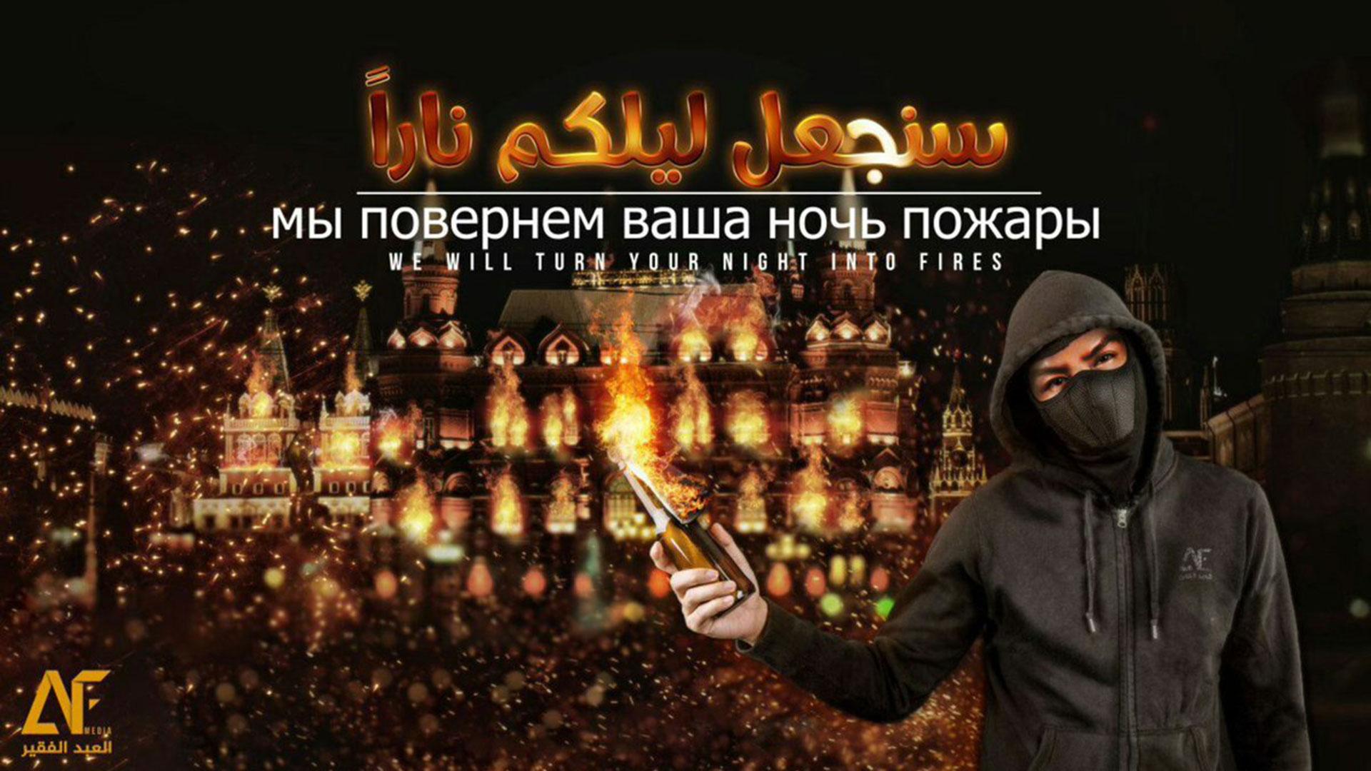 """""""Convertiremos a sus noches en incendios"""", con imágenes de Moscú en llamas de fondo"""