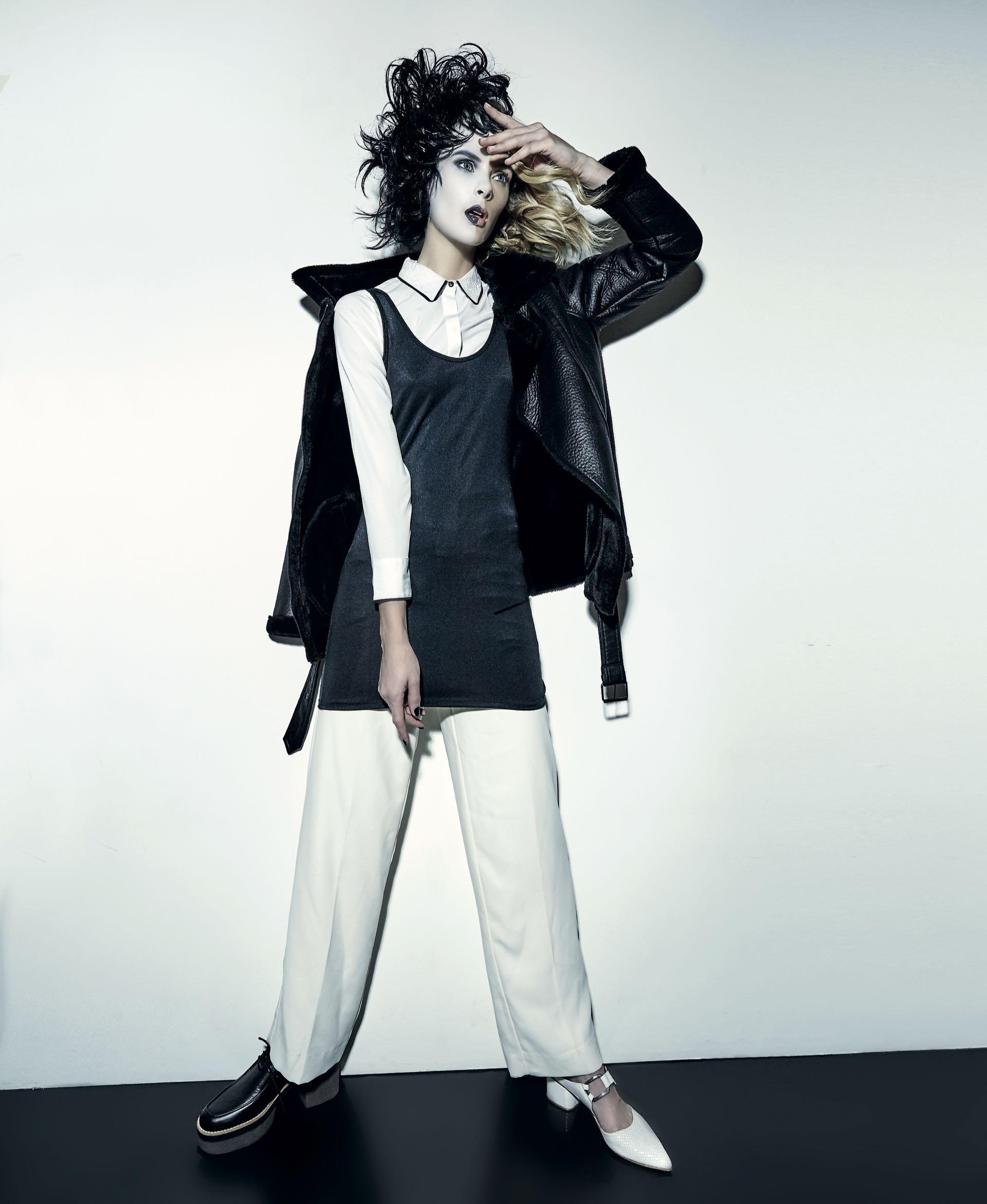 Campera de cuero con piel sintética ($ 4.200, India Style), vestido de Lycra ($ 462, Scombro), camisa con cuello bordado ($ 1.499, Yagmour), pantalón ancho de cintura alta (Vitamina), acordonado de cuero con base de goma($ 2.700, Viamo) y zueco de cuero grabado con hebilla($ 5.200, Uma).