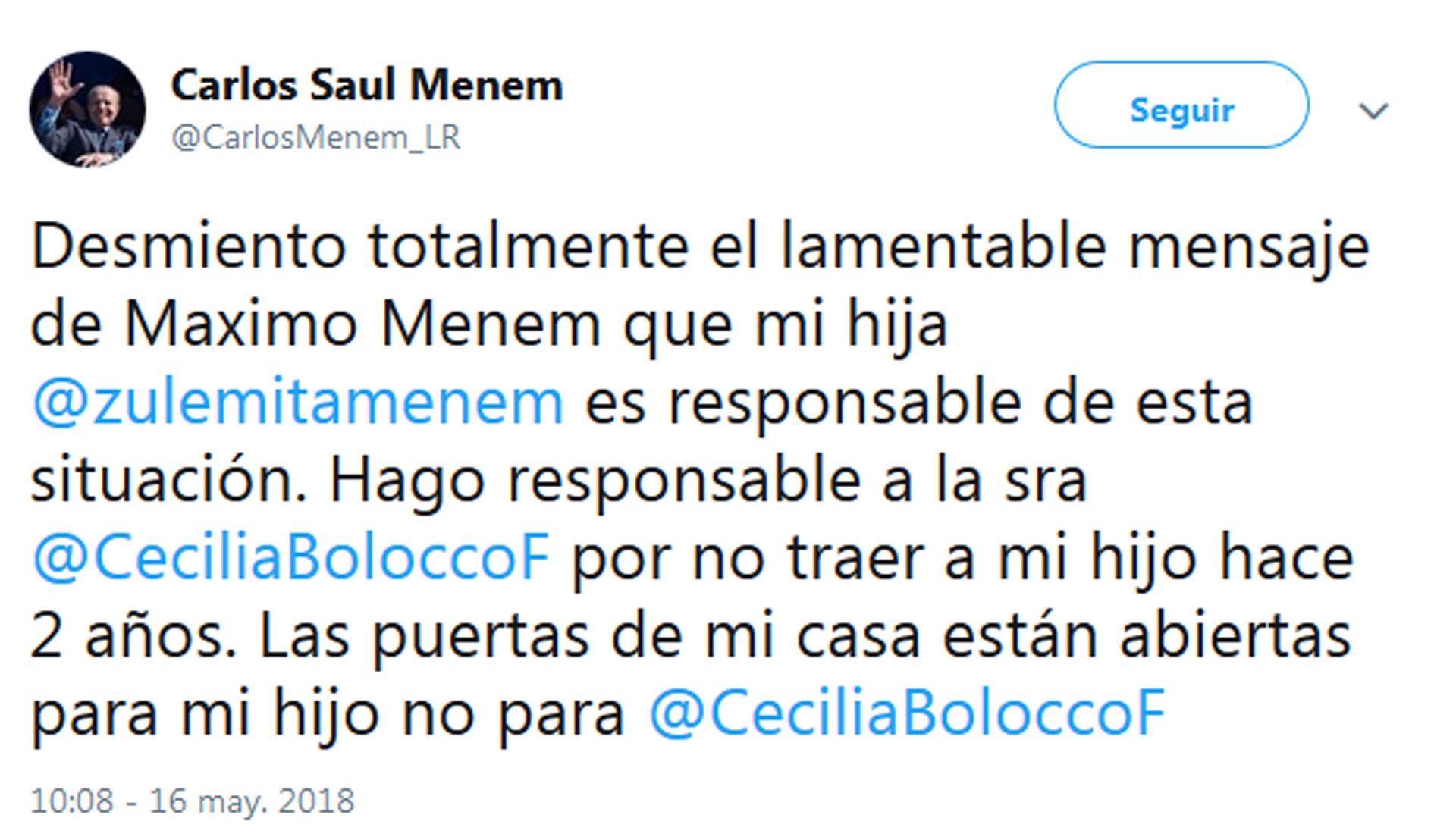 El descargo Carlos Menem en Twitter.