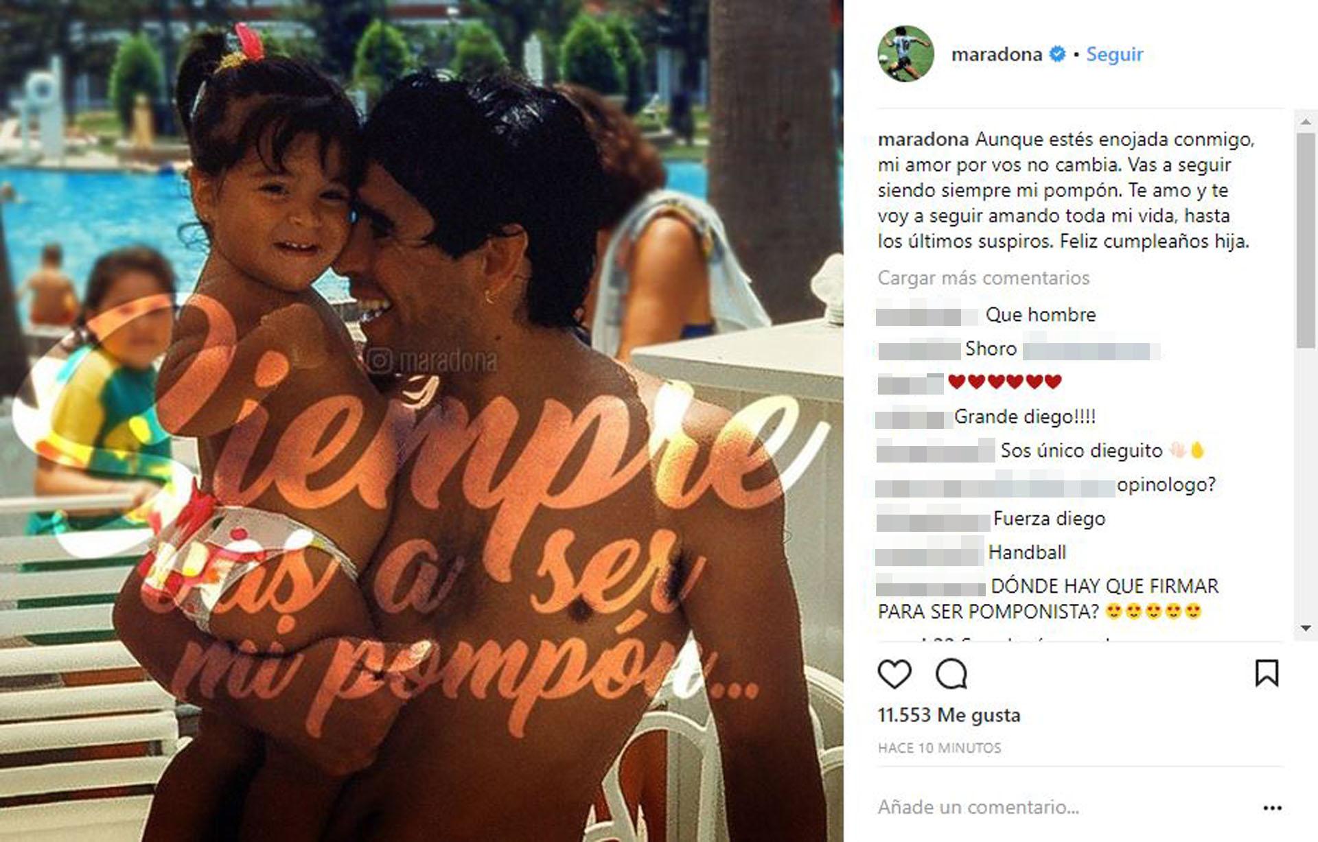El tierno mensaje del ex futbolista por el cumpleaños de Gianinna