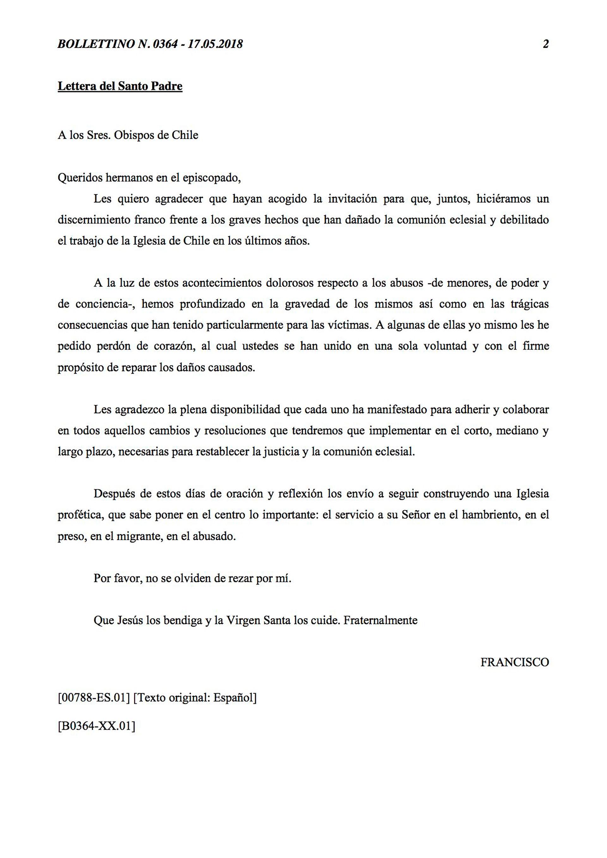 La carta enviada por el papa Francisco a 34 obispos