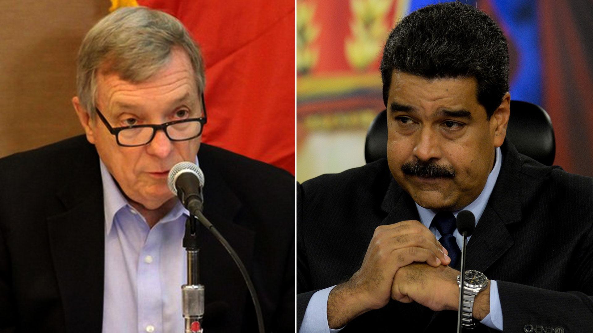 Dick Durbin y Nicolás Maduro