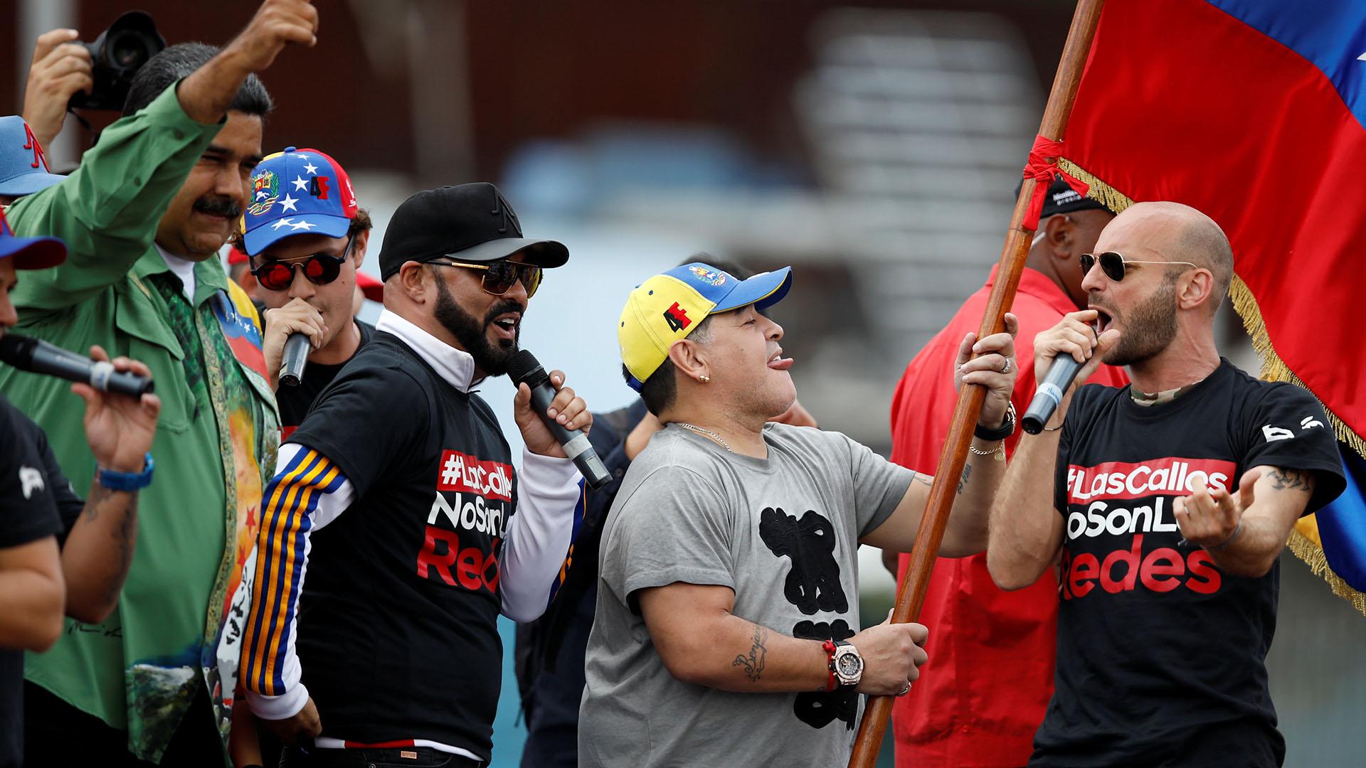 Maradona en el cierre de campaña de Maduro (Reuters)
