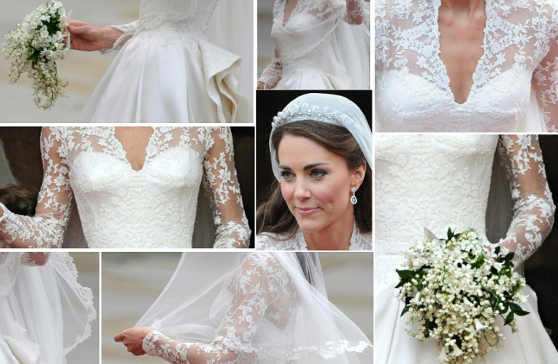 Combo de imágenes del vestido que lució Kate Middleton en su boda con el príncipe Guillermo de Inglaterra, el 29 de abril de 2011. (AFP/Archivos – -)
