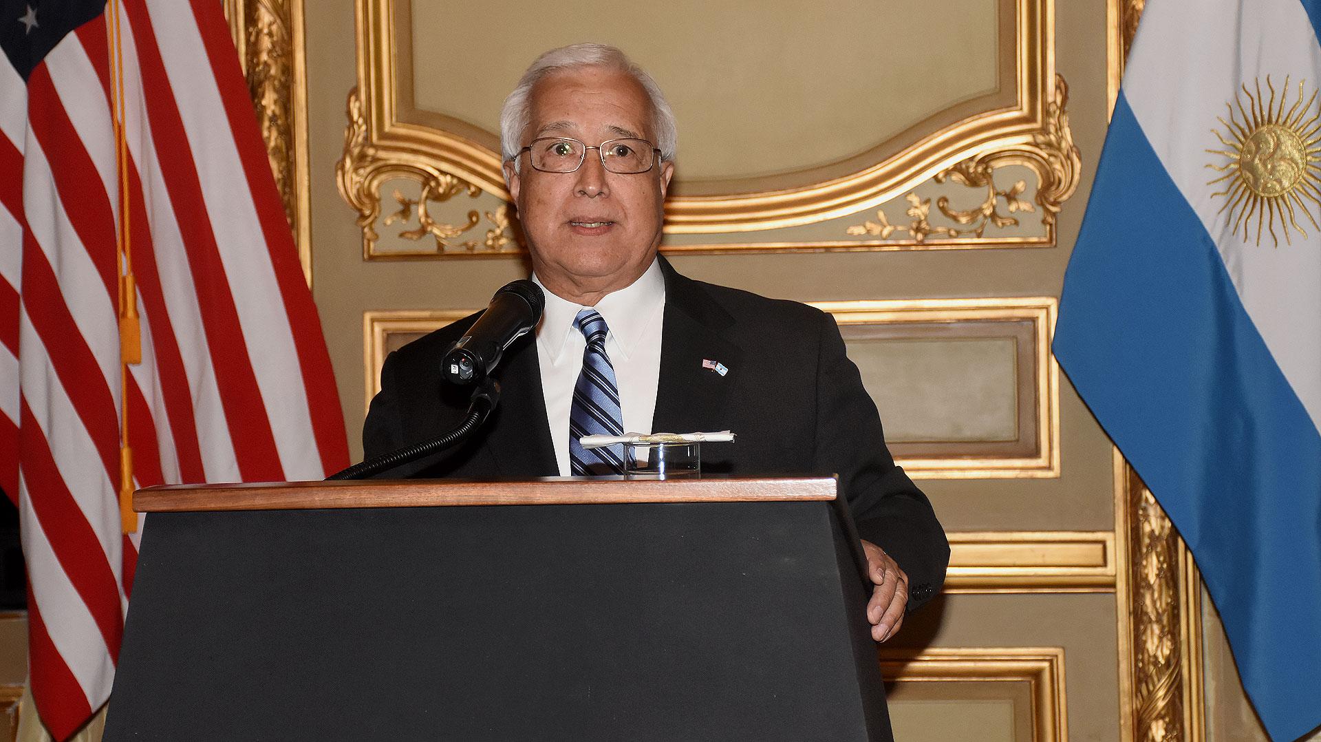 El discurso del embajador de los Estados Unidos en la Argentina, Edward Prado, durante la recepción que se llevó a cabo en su honor en el Palacio Bosch