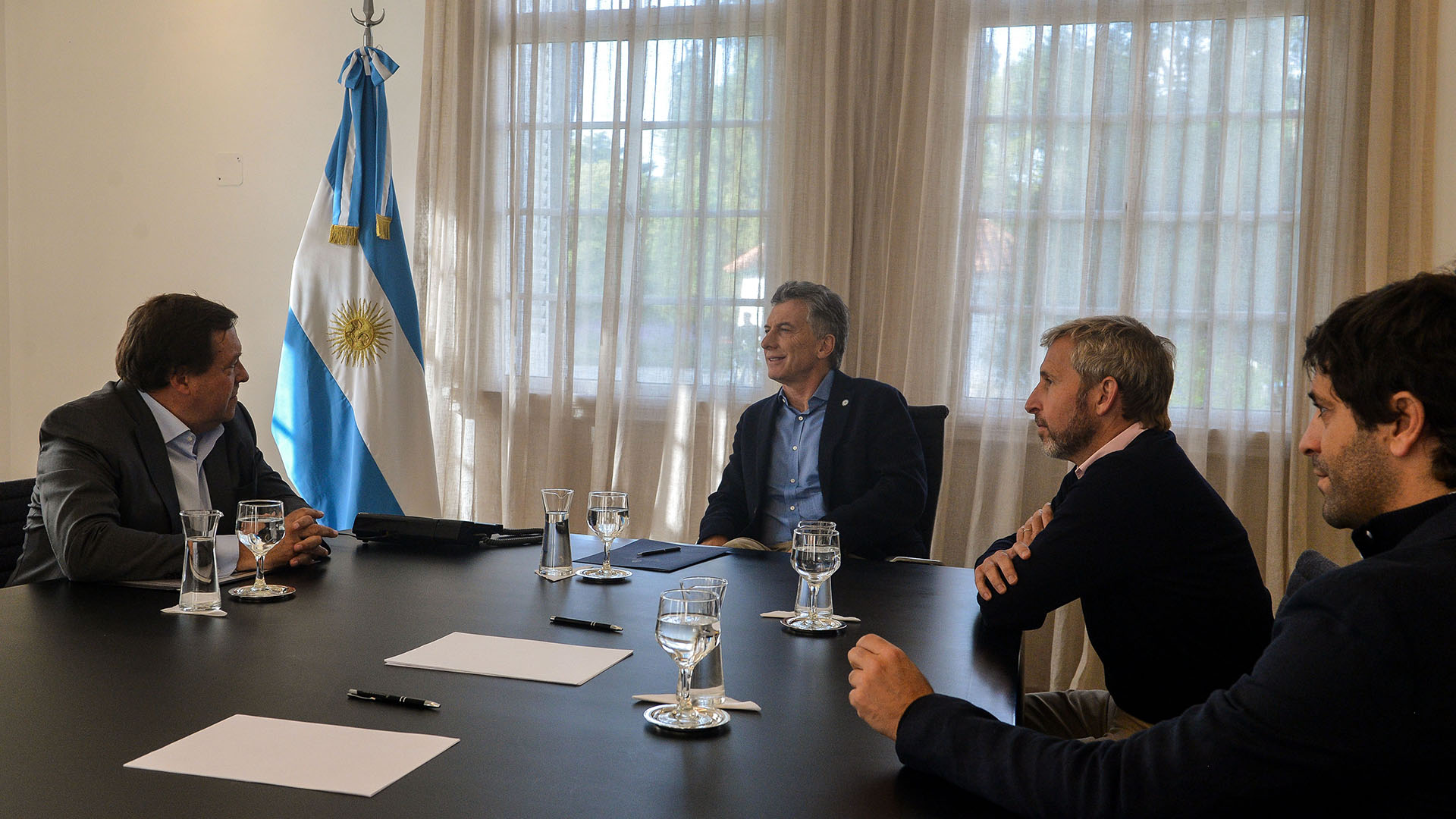 Macri, Frigerio y García De Luca con el gobernador de Río Negro, Alberto Weretilneck