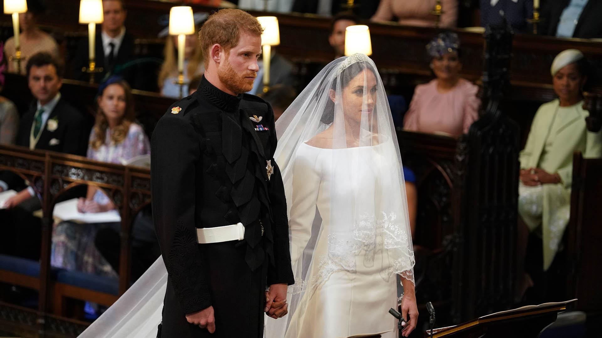 La ceremonia religiosa fue emotiva ydescontracturada, como nunca se había visto en toda la historia de Windsor (AFP)