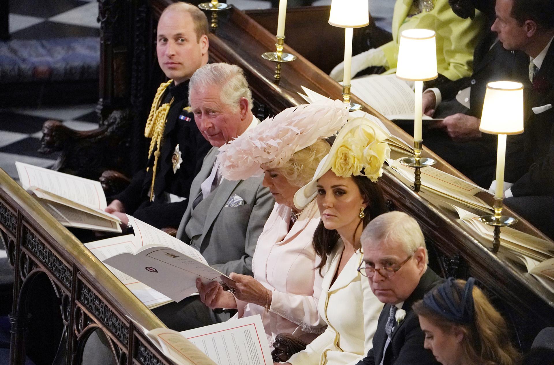 La familia real: William, Carlos, Camila, Kate y Andrés (AFP)