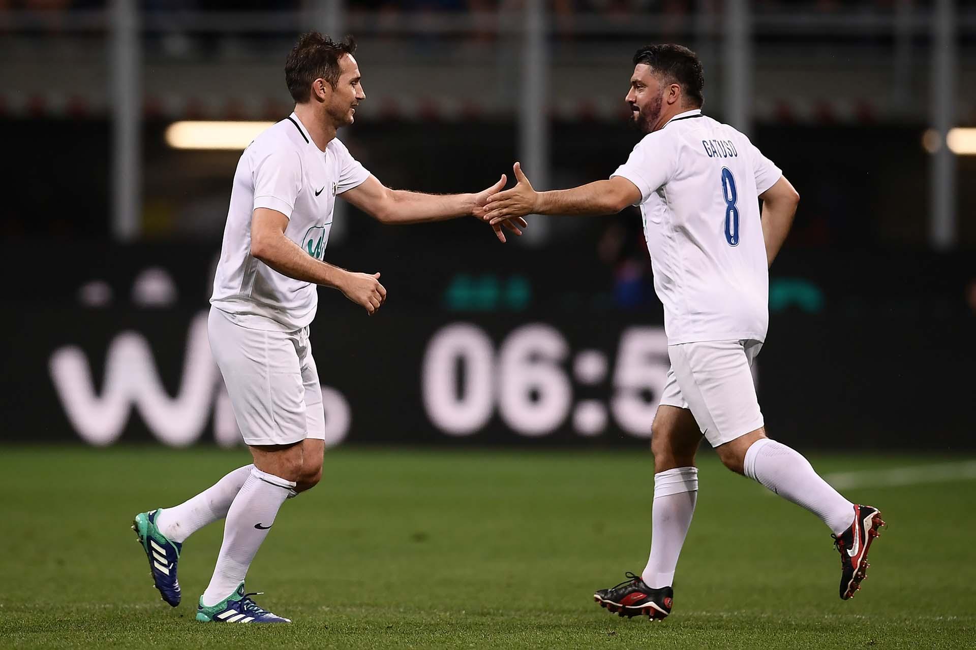 """Frank Lampard también fue invitado a la""""Notte del Maestro"""", el homenaje a Pirlo (AFP)"""