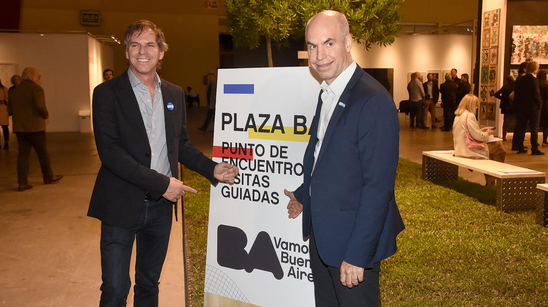 Alec Oxenford, presidente de arteBA Fundación, y Horacio Rodríguez Larreta, jefe de Gobierno porteño