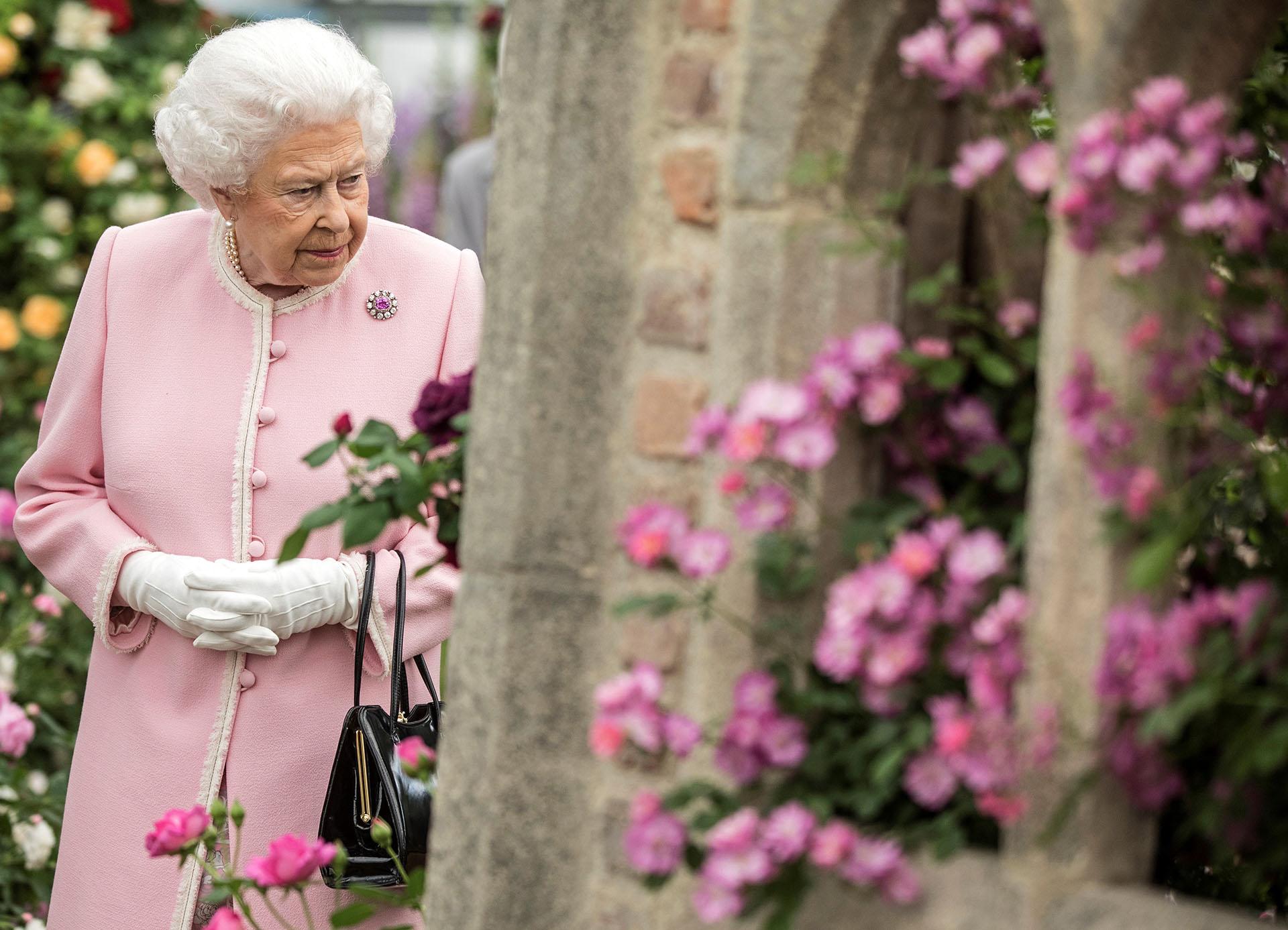 La semana pasada, eligió un look monocromo verde con detalles en violeta en el sombrero para la boda de su nieto, el príncipe Harry