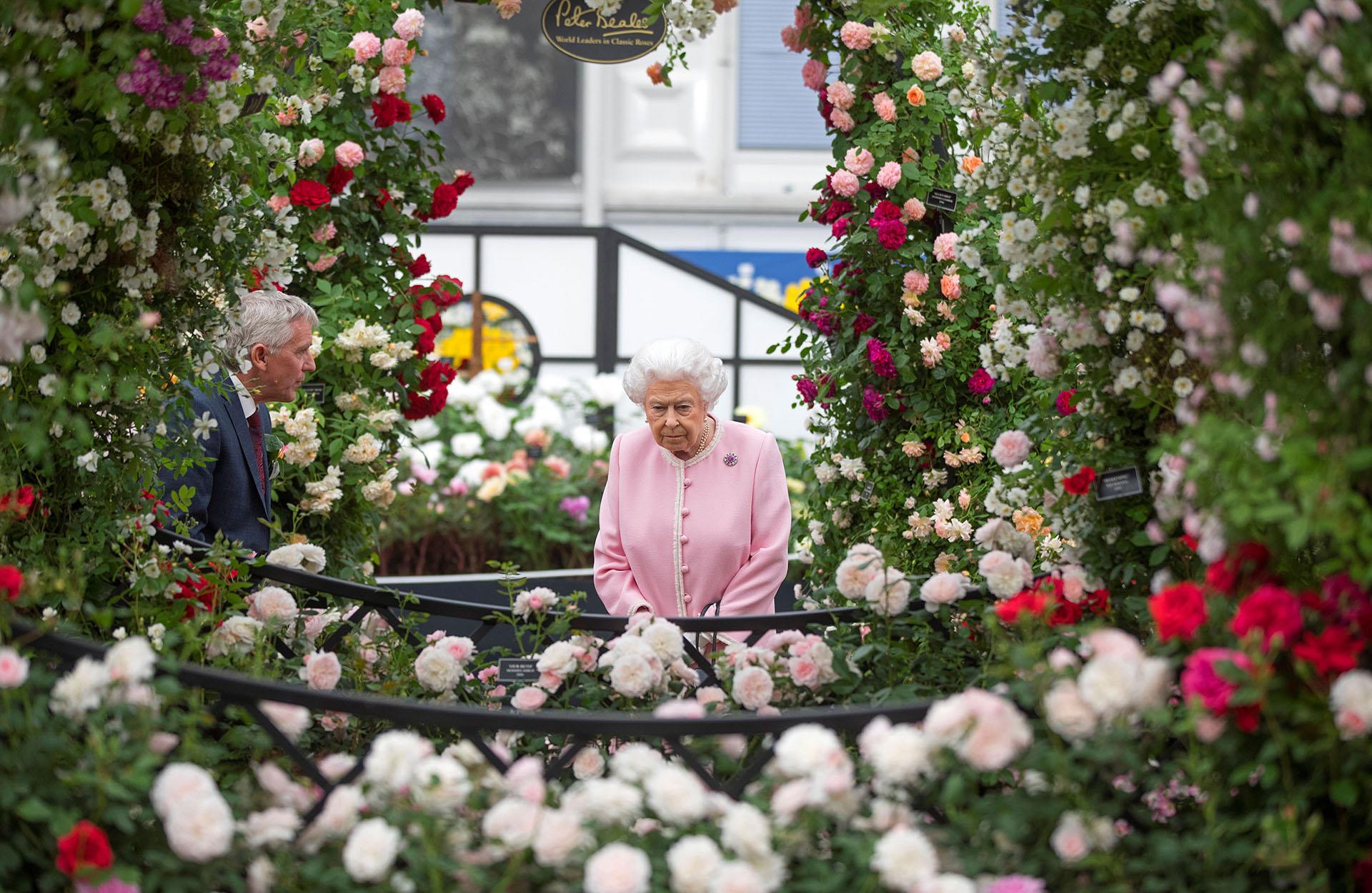 La monarca recorrió los jardines del Hospital, convertidos en fabulosas exhibiciones de horticultura