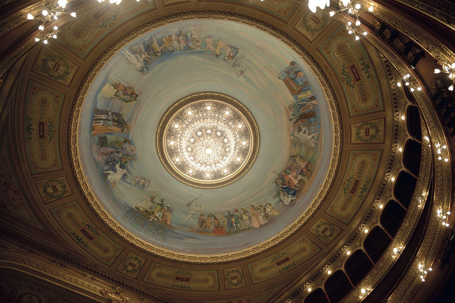 La cúpula del teatro Colón pintada por Raúl Soldi deslumbra a sus visitante, llevó 41 días de trabajo. Alegoría a la música, baile y canto