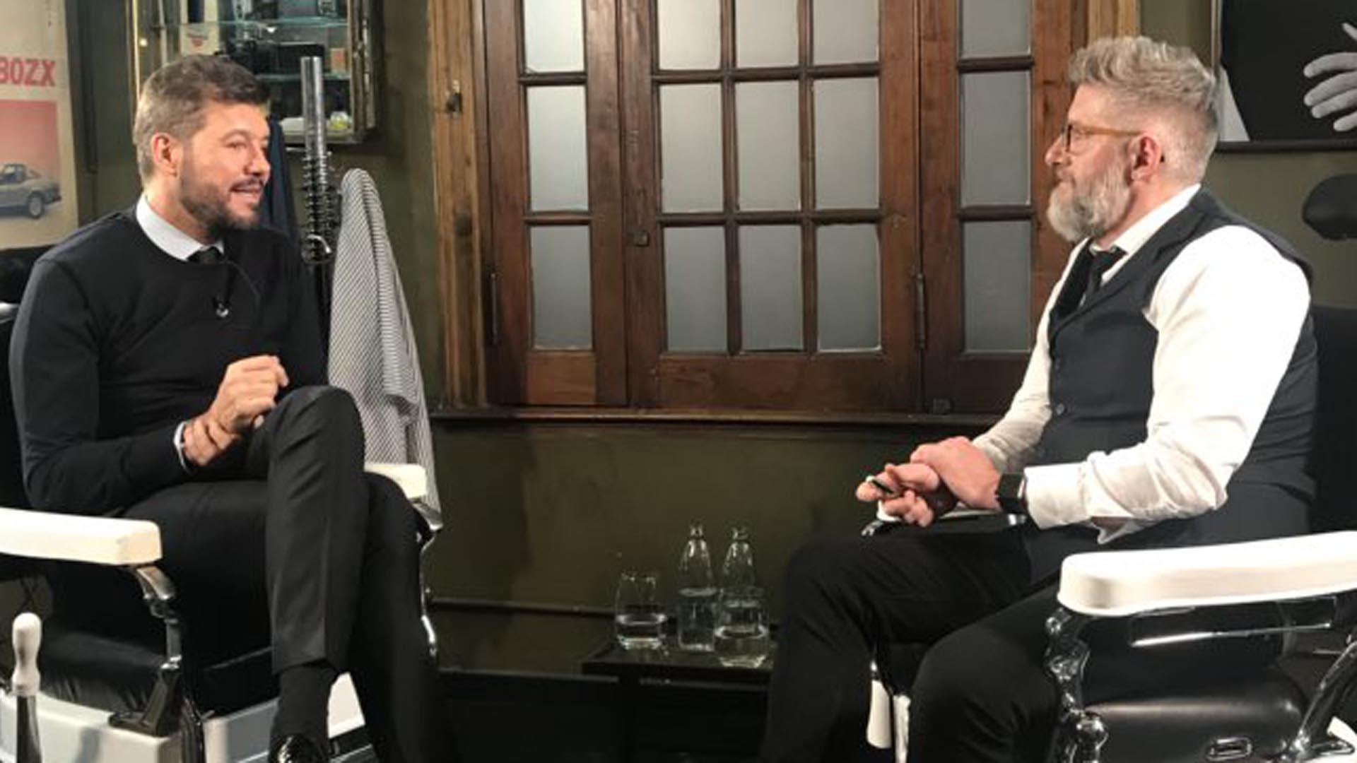 Marcelo Tinelli y Luis Novaresio, en mayo del 2018: después de esa nota, el Presidente llamó al conductor