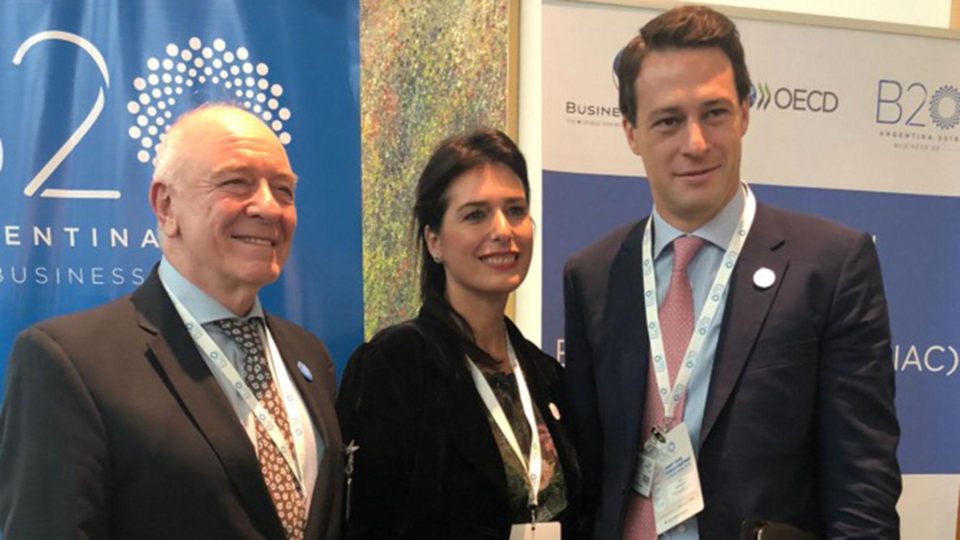 Luís Marchese, de Corporación América y Executive Advisor del B20; Inés Berton, fundadora de Tealosophy, y Hugo Eurnekian, presidente de CGC