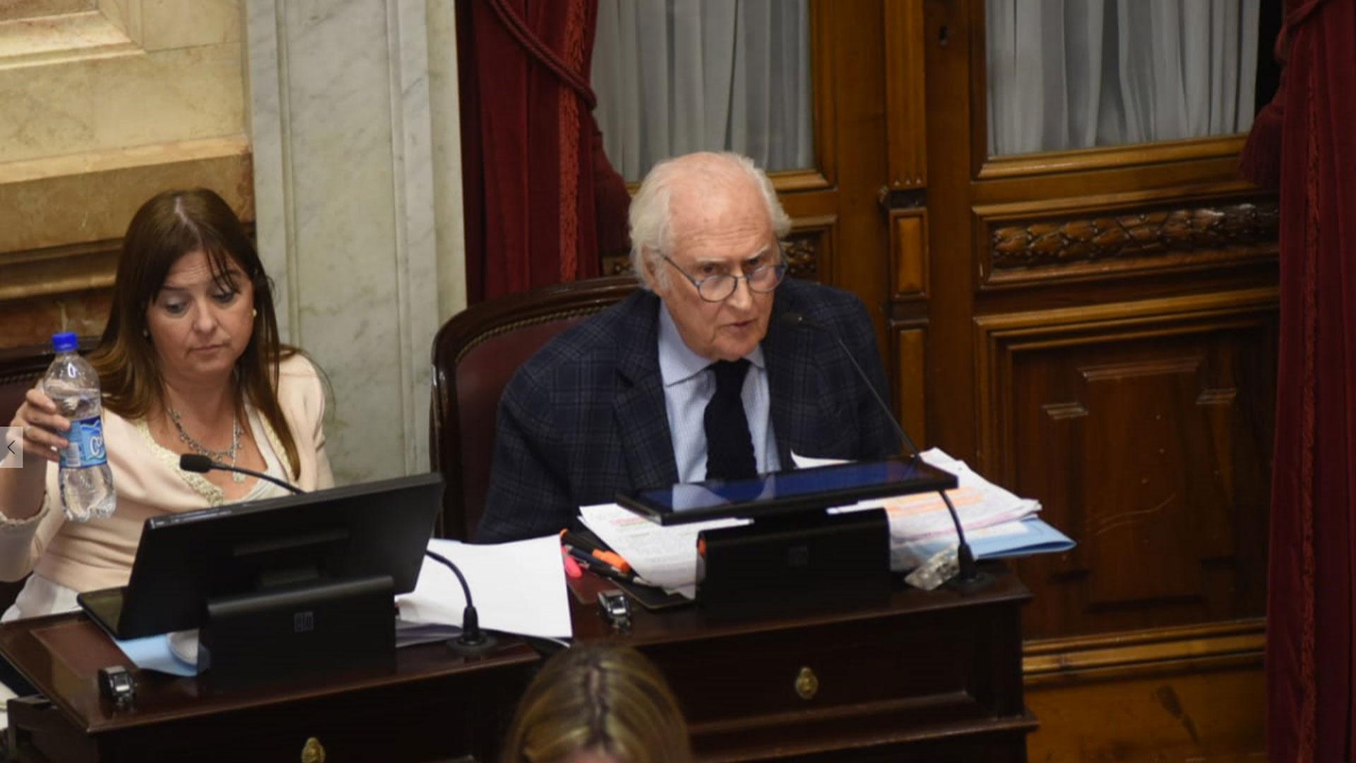 """El senador del bloque Proyecto Sur-Unen Fernando """"Pino"""" Solanas expuso con vehemencia su postura a favor del proyecto aprobado en Diputados"""