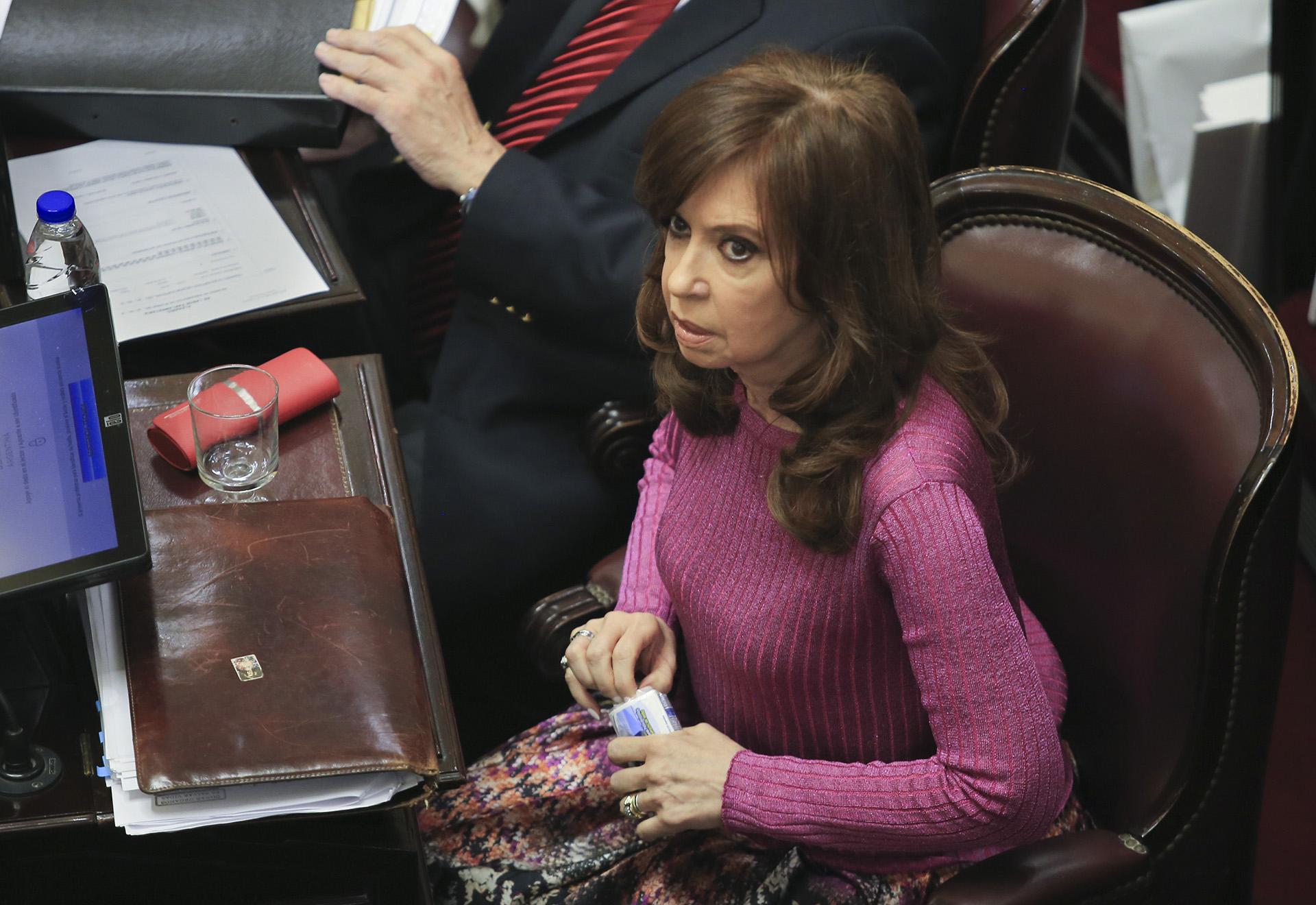 La senadora Cristina Kirchner durante el debate de la Cámara alta