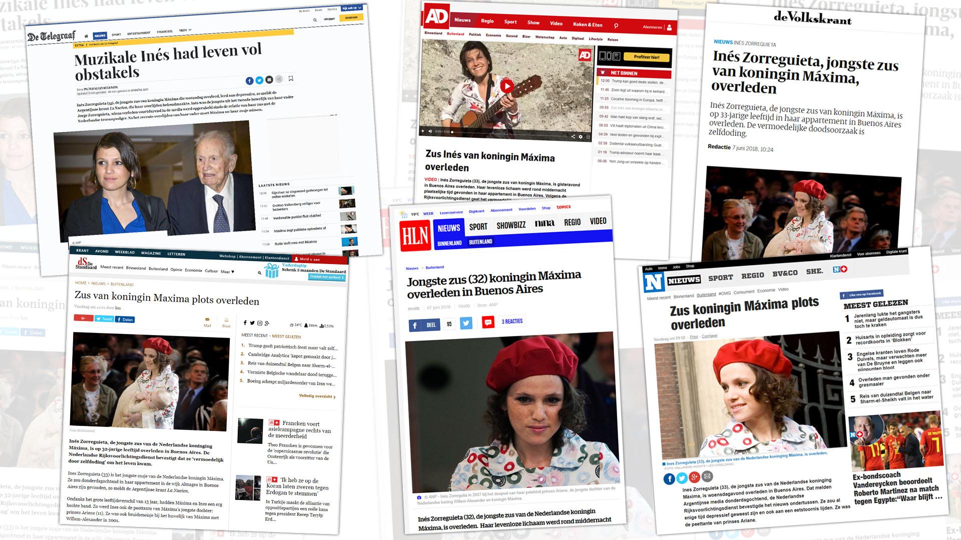 Los principales medios reflejaron la muerte de Inés Zorreguieta