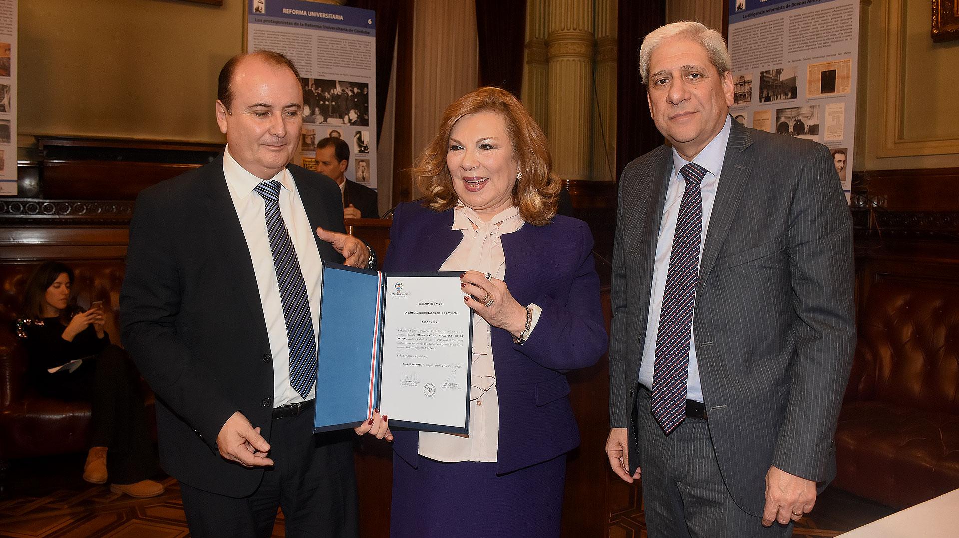 El senador Gerardo Montenegro junto a la senadora Ada Itúrrez de Cappellini y el vice gobernador provincial José Emilio Neder