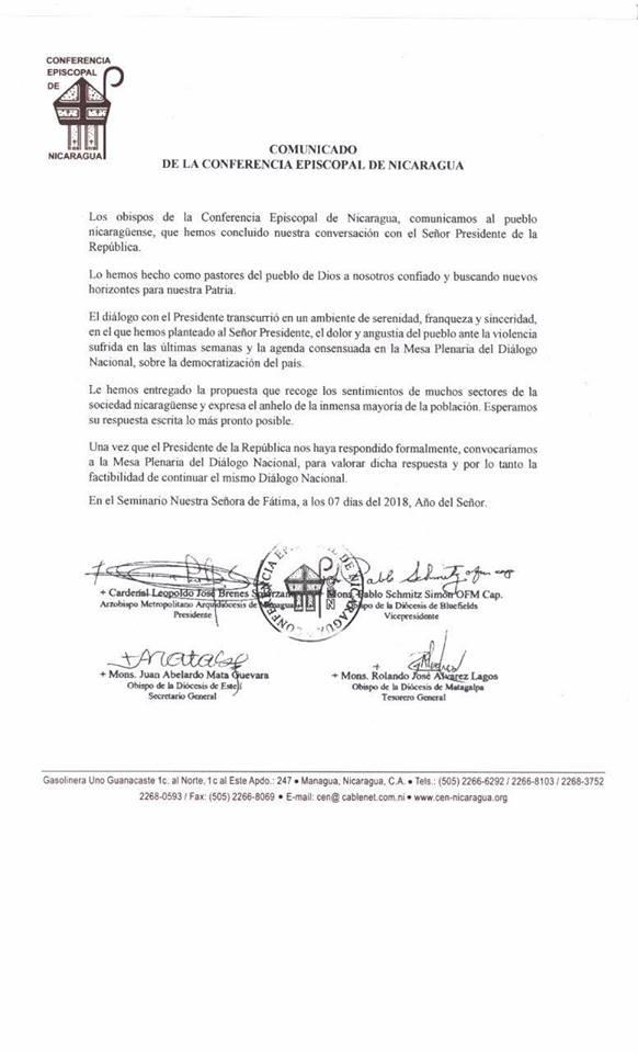 El comunicado de la Conferencia Episcopal de Nicaragua (Twitter @CENicaragua)