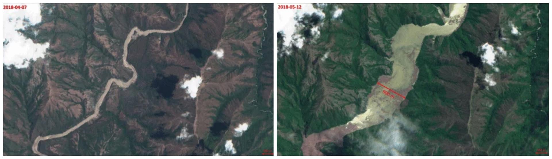 Imágen satelital del incremento del río Cauca que inundó parte de los municipios de Briceño, Sabanalarga y Toledo.