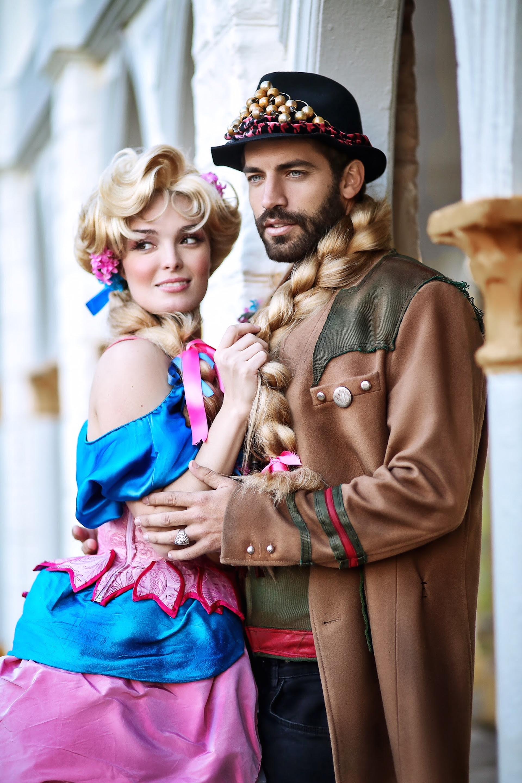 Benjamín Alfonso y Florencia Otero caracterizados para la obra Rapunzel.