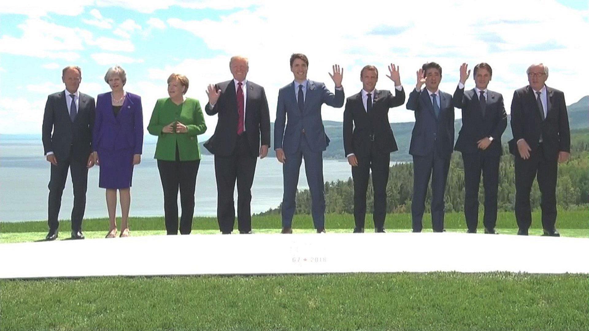 La foto de familia de la Cumbre del G7 que se realizó en Canadá el año pasado y terminó con duras críticas de Trump al multilateralismo